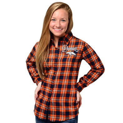 Forever Collectibles NFL Women's Denver Broncos Check Long Sleeve Flannel Shirt