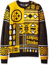 Klew NFL Men's Pittsburgh Steelers Patches Ugly Crew Neck Sweater, Black/Yellow