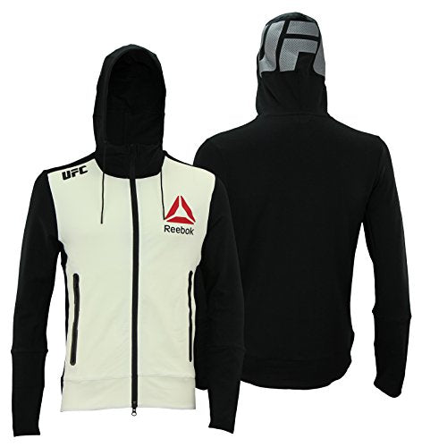 Reebok Men's UFC Walkout Full Zip Hoodie, Off White/ Black
