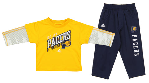 f3f47d30429 Adidas NBA Infants Indiana Pacers Buzzer Shirt and Pants Set, Navy and Gold