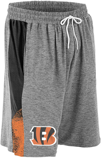 Zubaz NFL Football Mens Cincinnati Bengals Gray Space Dye Shorts