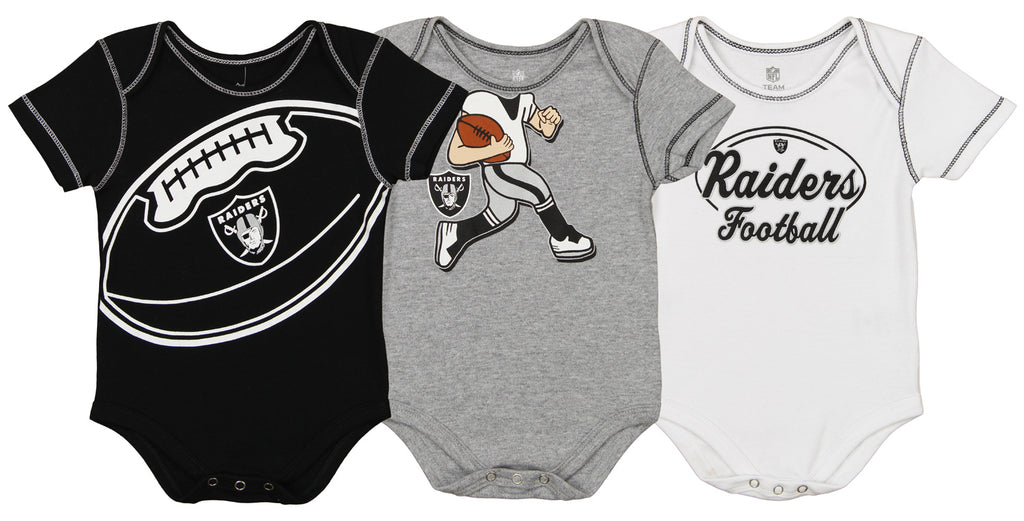ae96d4ab2 Outerstuff NFL Infant Oakland Raiders 3 Pack Creeper Set – Fanletic