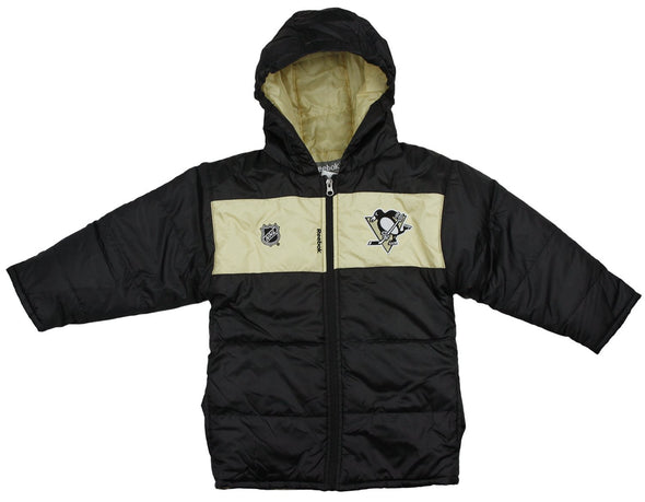 Reebok NHL Little Boys Kids Pittsburgh Penguins Center Ice Bubble Winter Jacket, Black