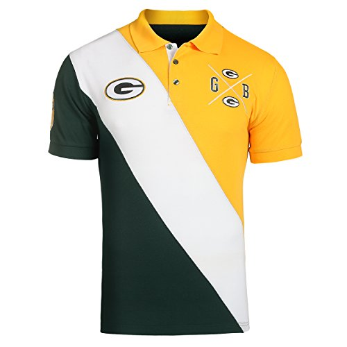 KLEW NFL Football Men's Green Bay Packers Rugby Diagonal Stripe Polo Shirt