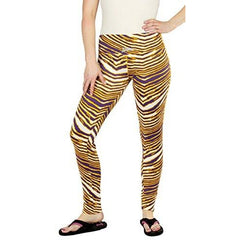 Zubaz NFL Women's Minnesota Vikings Team Color Tiger Print Leggings Pants