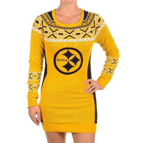 "KLEW NFL Women's Pittsburgh Steelers ""Big Logo"" Ugly Sweater Dress"