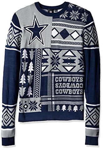 Klew NFL Men's Dallas Cowboys Patches Ugly Crew Neck Sweater, Navy