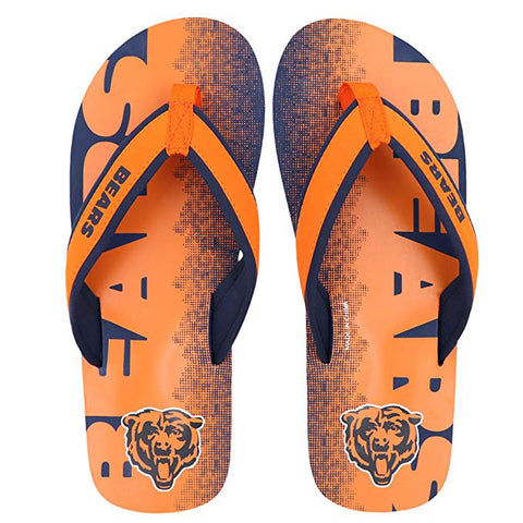 FOCO NFL Men's Chicago Bears Contour Fade Wordmark Thong Sandals