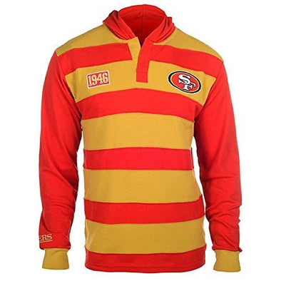 KLEW Men's NFL San Francisco 49ers Cotton Rugby Hoodie Shirt