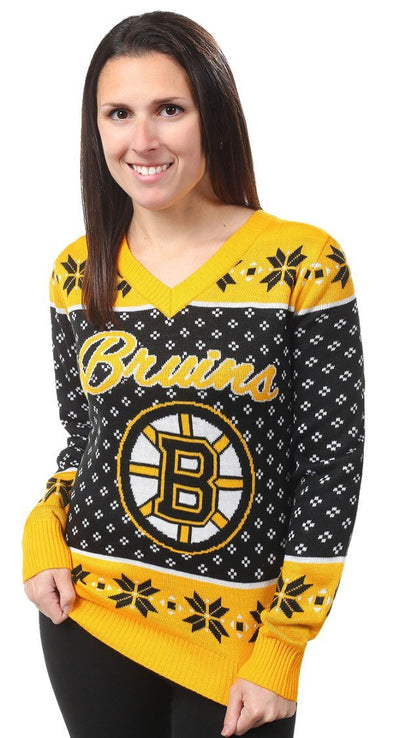Forever Collectibles NHL Women's Boston Bruins 2016 Ugly V-Neck Sweater