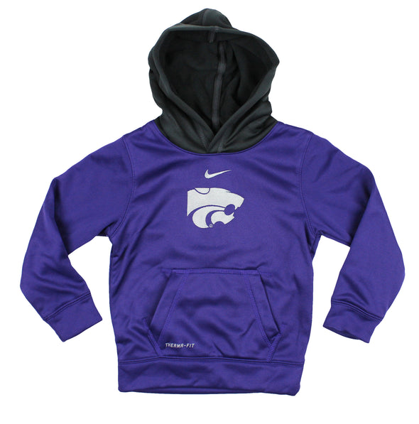 Nike NCAA Little Kids Kansas State Wildcats ThermaFIT Pullover Hoodie, Purple