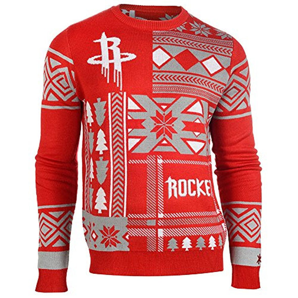 Klew NBA Men's Houston Rockets Patches Ugly Sweater, Red