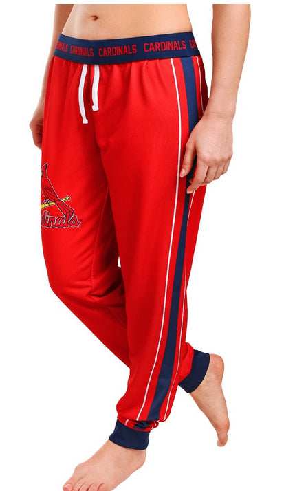 KLEW MLB Women's St. Louis Cardinals Cuffed Jogger Pants, Red
