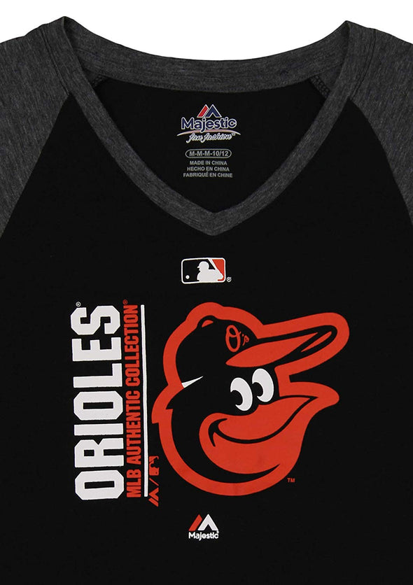 Outerstuff MLB Youth Girls Baltimore Orioles AC Team Icon On Field Raglan Tee
