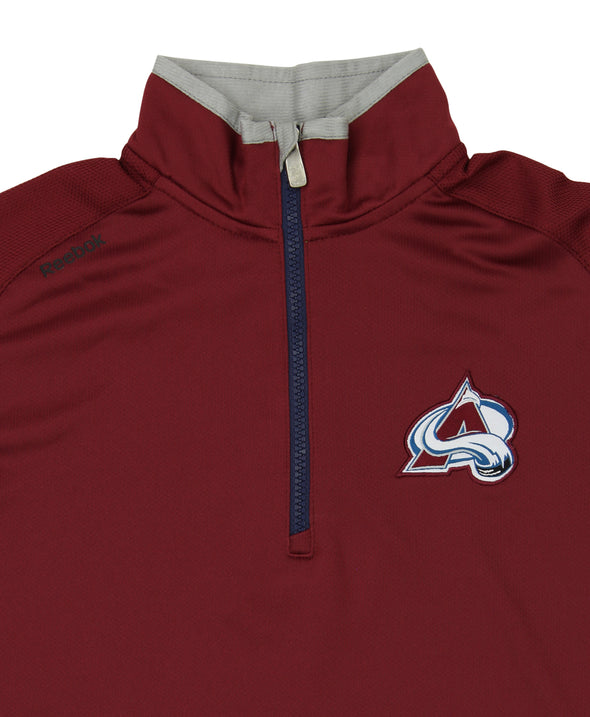 Reebok NHL Youth Colorado Avalanche Grinder Quarter Zip Coach Pullover, Maroon