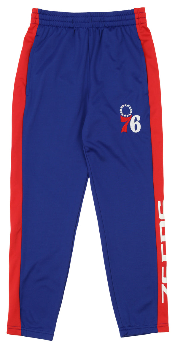 OuterStuff NBA Youth Boys Side Stripe Slim Fit Performance Pant, Philadelphia 76ers