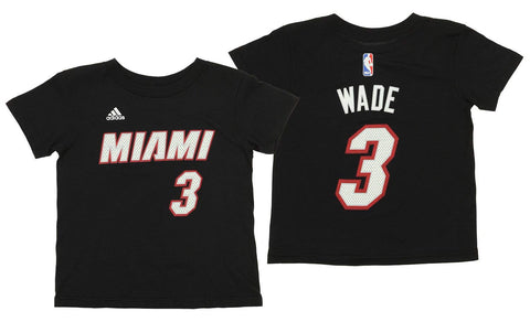 Adidas NBA Kids Miami Heat Dwyane Wade #3 Short Sleeve Game Time Tee, Black