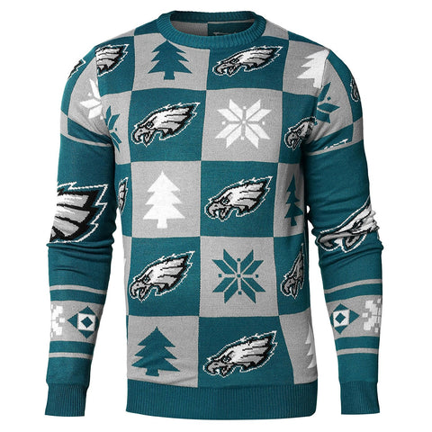 Forever Collectables NFL Men's Philadelphia Eagles 2016 Patches Ugly Crewneck Sweater