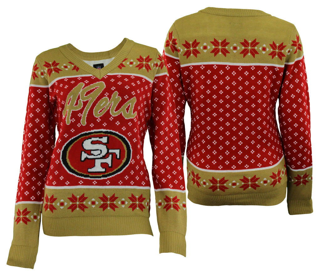 99f32aee Forever Collectibles NFL Women's San Francisco 49ers Big Logo V-Neck Sweater