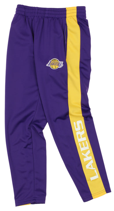 OuterStuff NBA Youth Boys Side Stripe Slim Fit Performance Pant, Los Angeles Lakers