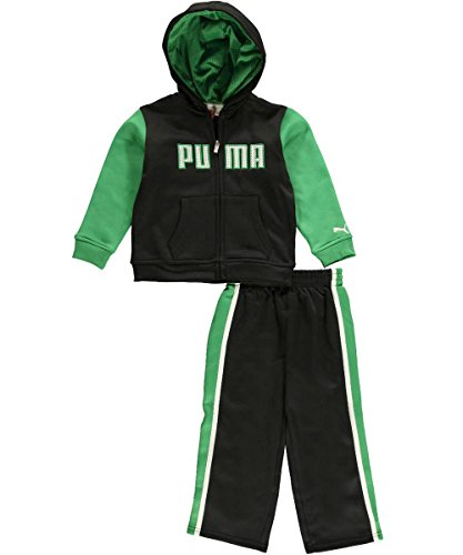 Puma Infants Logo Fleece Set - Hoodie and Pants - Black and Green
