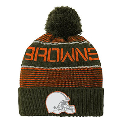 Outerstuff NFL Youth (8-18) Cleveland Browns Magna Reflective Cuffed Beanie with Pom