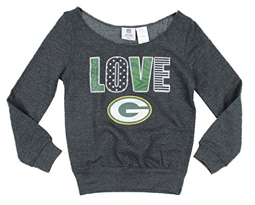 buy popular 14f75 32ce9 NFL Youth Girls Green Bay Packers Love Off The Shoulder Sweatshirt, Grey