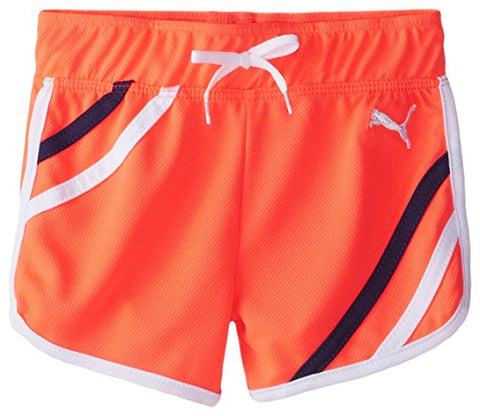 Puma Toddler Girl's Mesh Gym Athletic Shorts, Fire Coral
