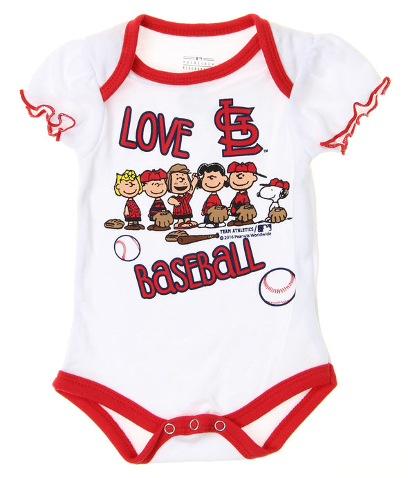 MLB Infants St. Louis Cardinals Peanuts Love Baseball Creeper, White
