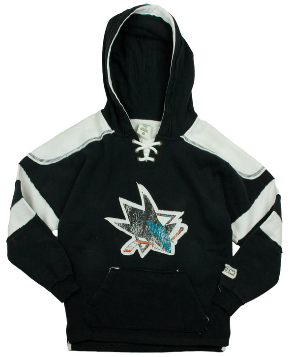 Reebok NHL Youth Boy's San Jose Sharks VINTAGE Style Pullover Hoodie, Black