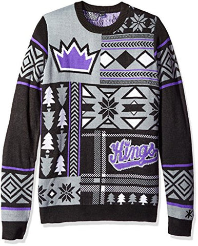 Klew NBA Men's Sacramento Kings Patches Ugly Sweater, Purple