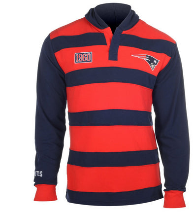 KLEW NFL Men's New England Patriots Striped Rugby Pullover Hoodie, Red / Navy