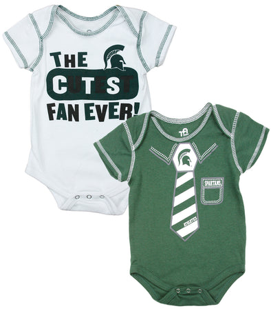 NCAA College Infant Boys Michigan State Spartans 2 Pack Creeper Bodysuit Set