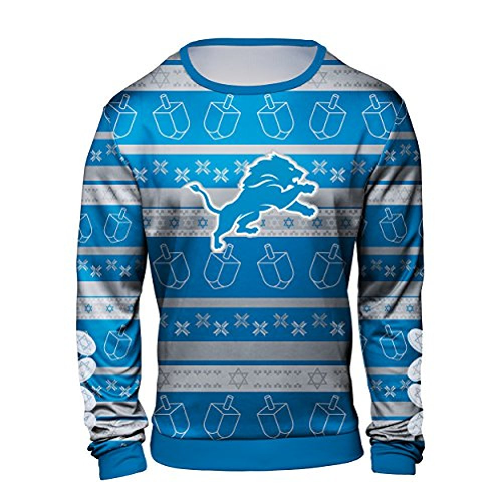 Forever Collectibles NFL Men's Detroit Lions Hanukkah Ugly Crew Neck Sweater