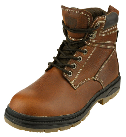 NFL Men's Oakland Raiders Rounded Steel Toe Lace Up Leather Work Boots - Brown