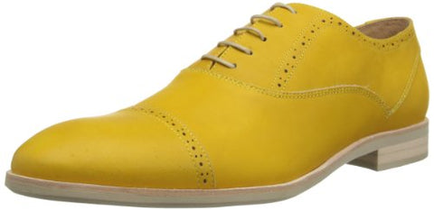 JD Fisk Men's Gamble Oxford Lace Up Fashion Shoes - Mustard Yellow Leather