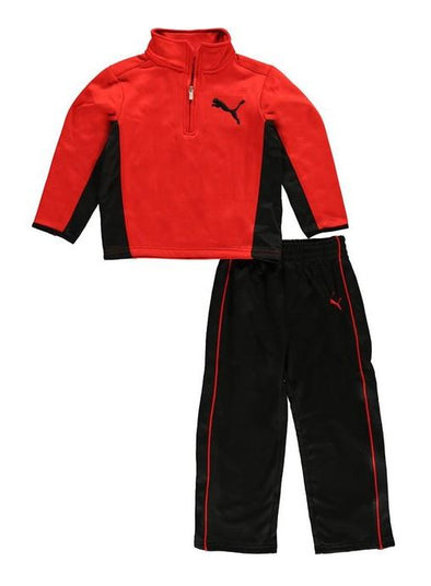 Puma Infant Angle 1/4 Zip Up Sweatshirt Top and Pants Set - Red