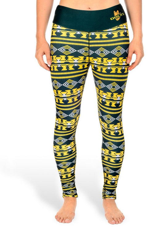 NCAA Women's Oregon Ducks Aztec Print Leggings, Green