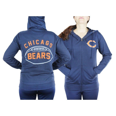 Chicago Bears NFL Womens Double Coverage Full Zip French Terry Hoodie, Navy