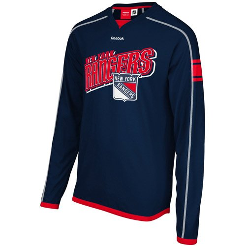 Reebok NHL Mens New York Rangers Long Sleeve Jersey Shirt Top, Navy