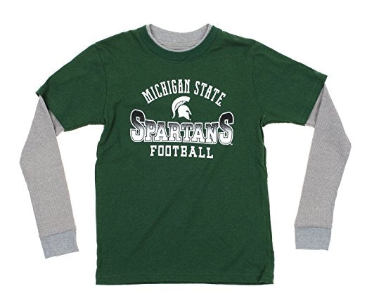 NCAA Youth Michigan State Spartans Faux Layer Long Sleeve Tee