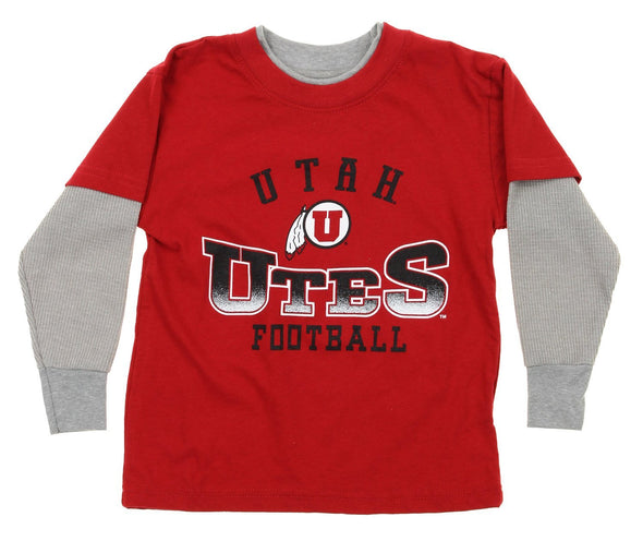 NCAA Utah Utes Kids Long Sleeve Tee, Red