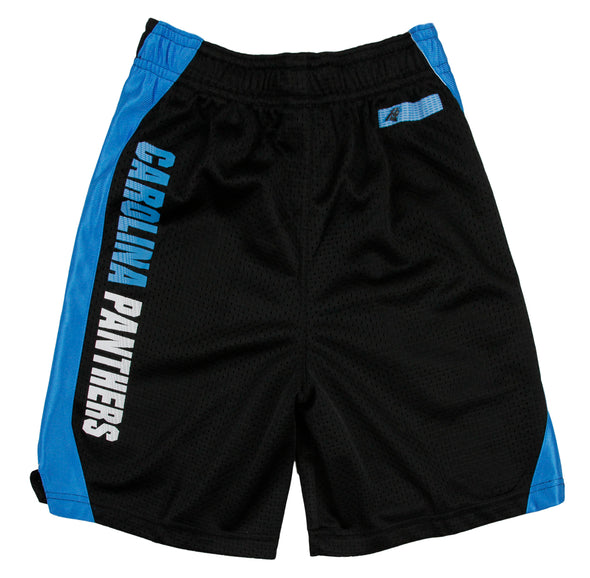 NFL Youth and Little Boys Kids Carolina Panthers Athletic Gym Mesh Shorts, Black