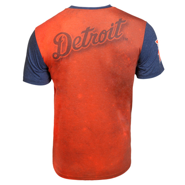 KLEW MLB Men's Detroit Tigers Big Graphics Pocket Logo Tee T-shirt,Orange