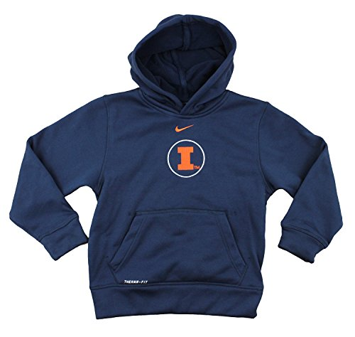 Nike NCAA Youth Boys Illinois Fighting Illini Thermafit Pullover Hoodie, Navy