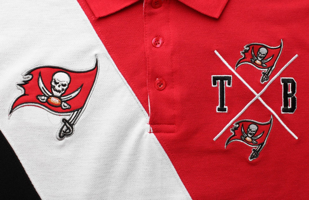 c73812249 KLEW NFL Football Men s Tampa Bay Buccaneers Rugby Diagonal Stripe Polo  Shirt. Previous