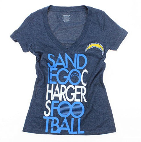Reebok NFL Women's San Diego Chargers Deep V-Neck Football Tee - Heather Blue