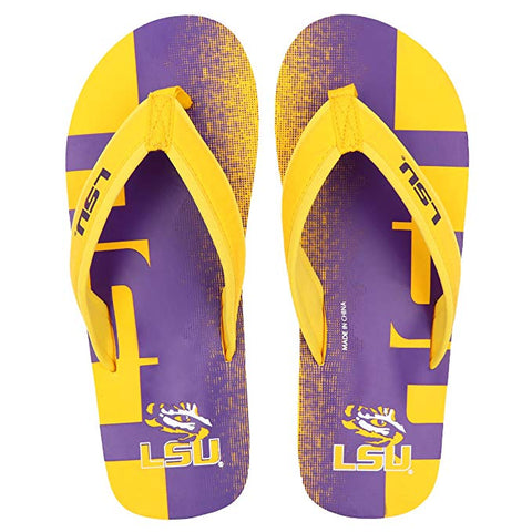 FOCO NCAA Men's LSU Tigers Contour Fade Wordmark Thong Sandals