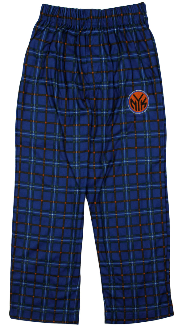 NBA Basketball Little Boys Kids New York Knicks Plaid Lounge Pajama PJ Pants, Blue