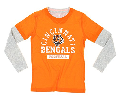 Cincinnati Bengals NFL Youth Boys Faux Layered Shirt with Knit Beanie Hat Set